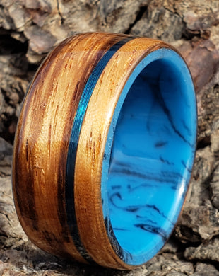 zerbrawood ring on synthetic cobalt and a thin blue line