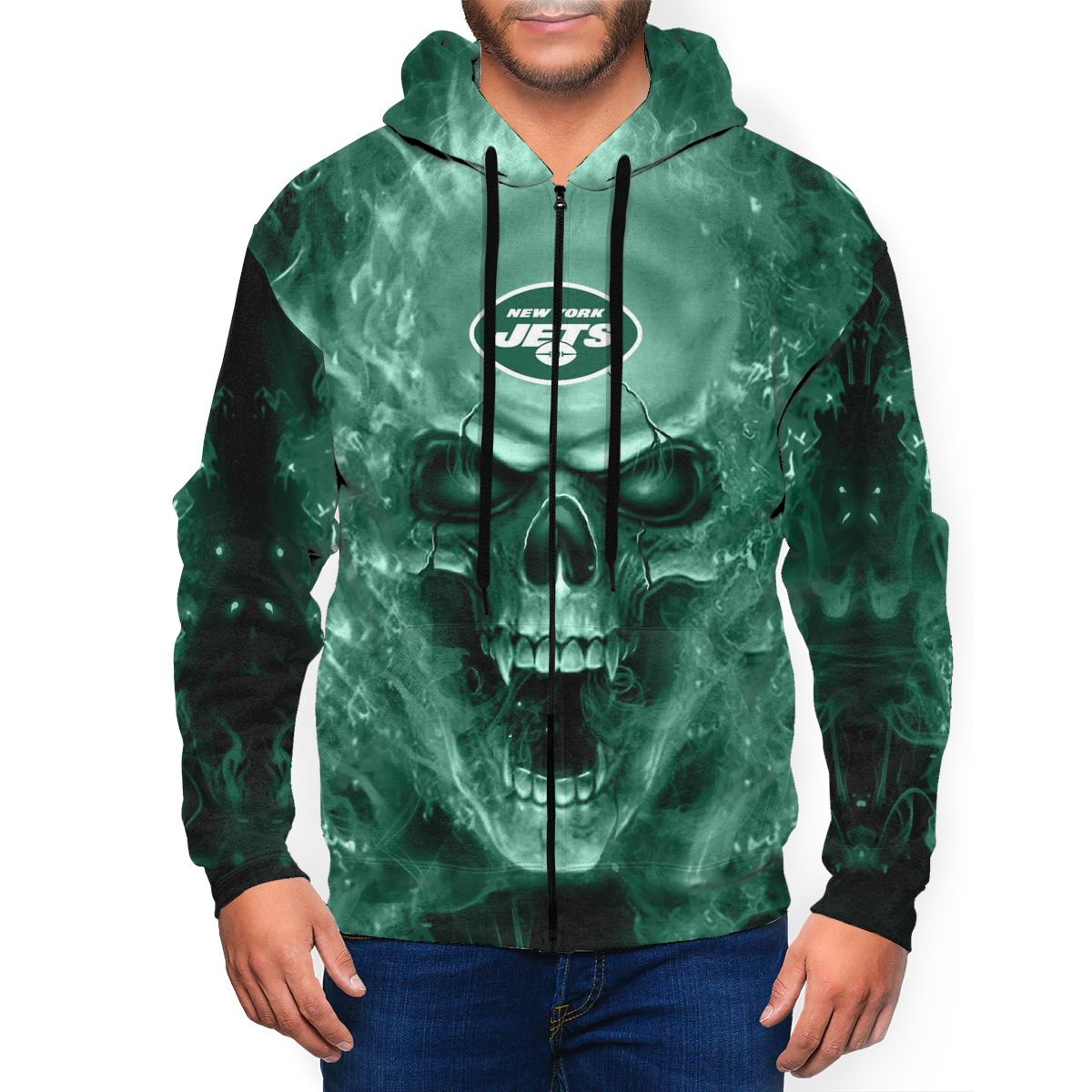 3D Skull Jets Men's Zip Hooded Sweatshirt