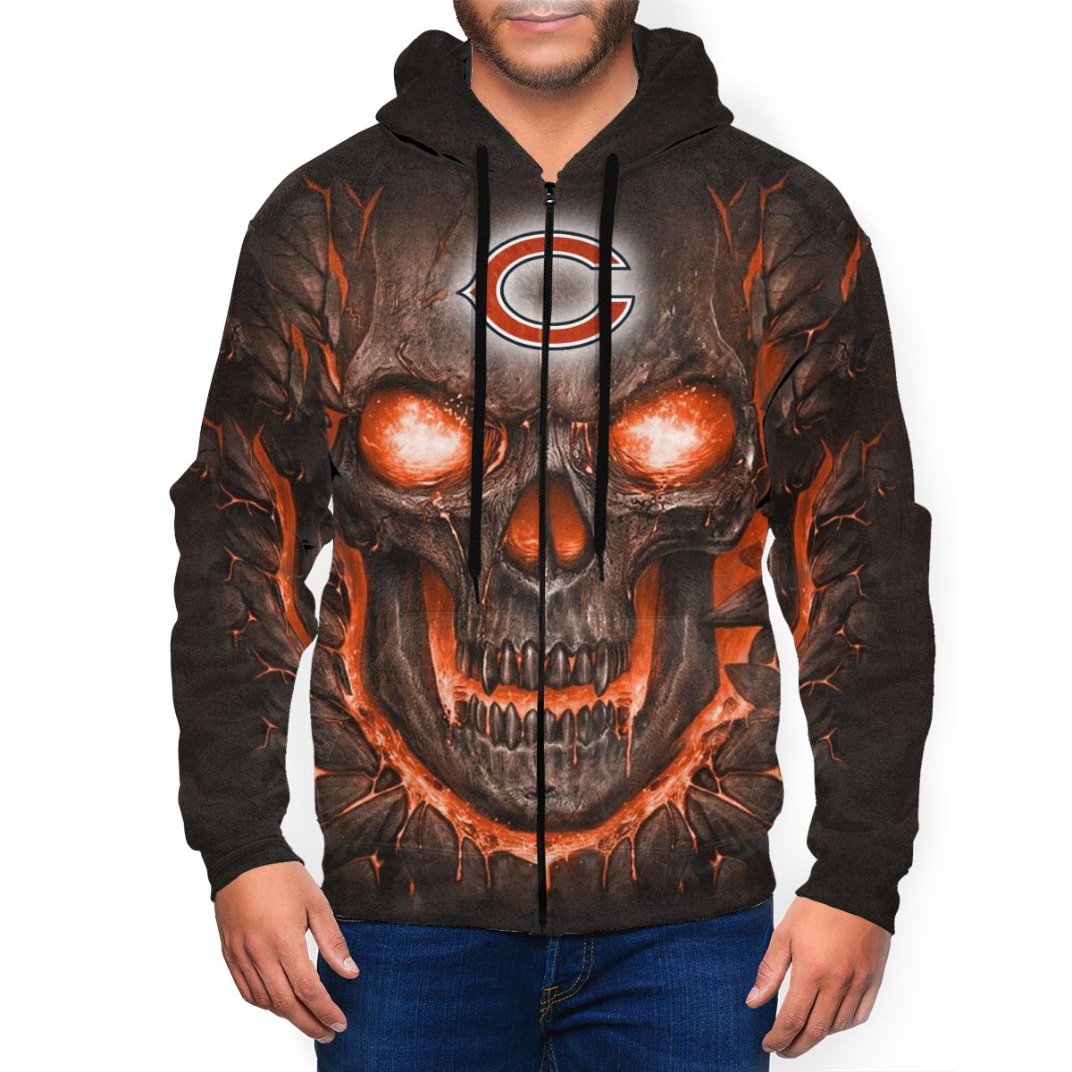Bears Skull Lava Men's Zip Hooded Sweatshirt