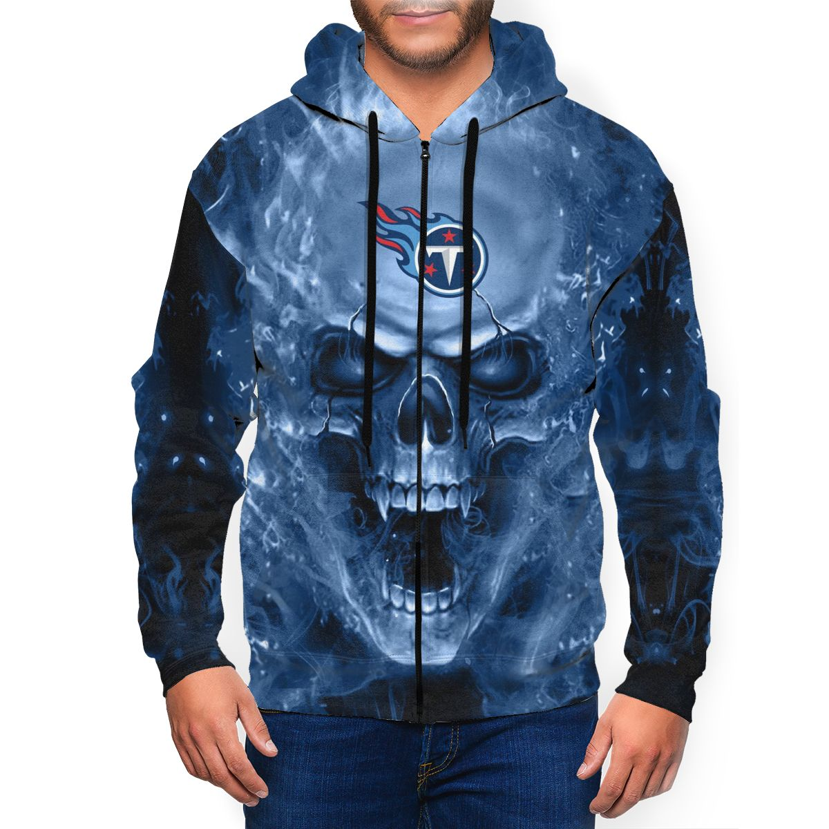 3D Skull Titans Men's Zip Hooded Sweatshirt