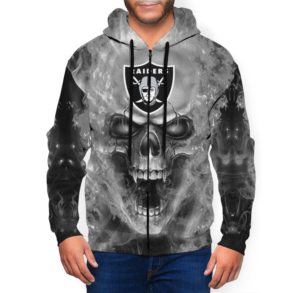 3D Skull Raiders Men's Zip Hooded Sweatshirt