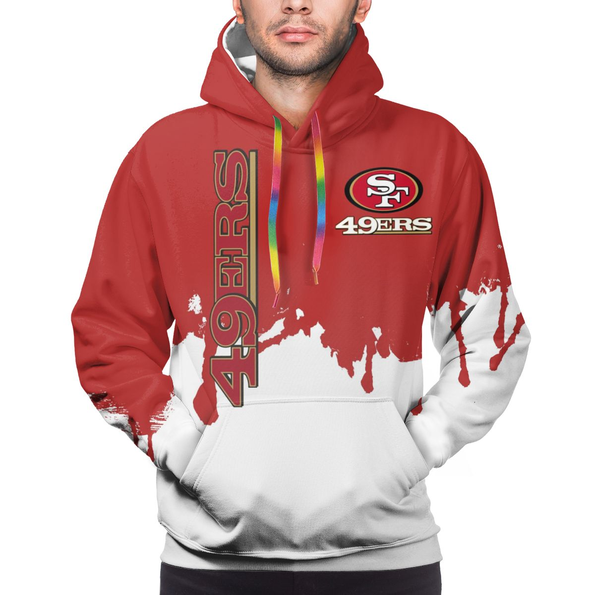 49ers Team Logo Print Hoodies For Men Pullover Sweatshirt