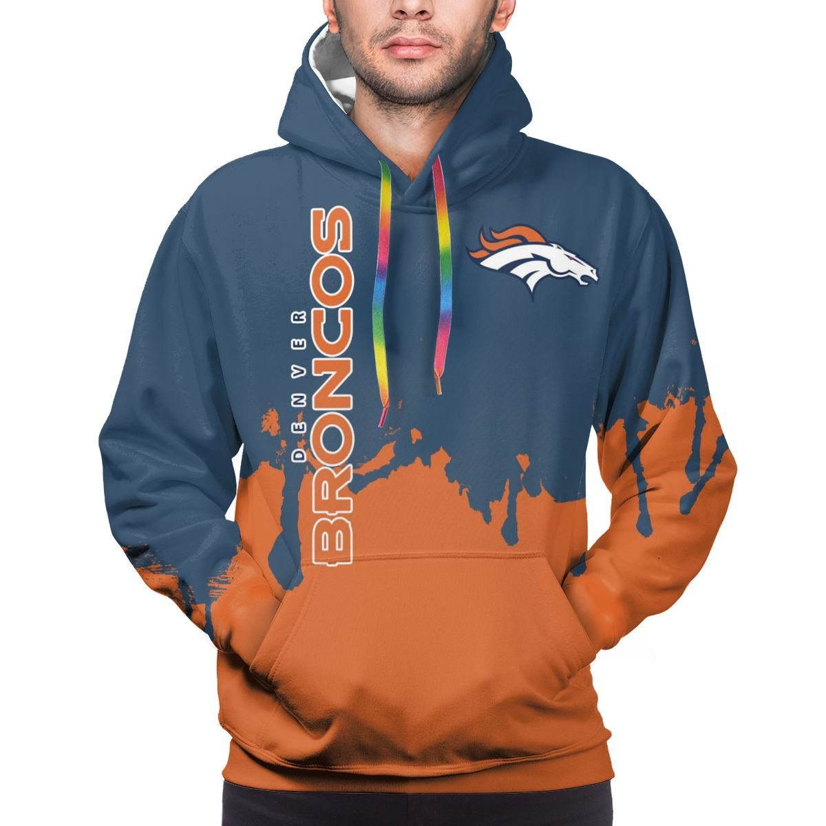Broncos Team Logo Print Hoodies For Men Pullover Sweatshirt