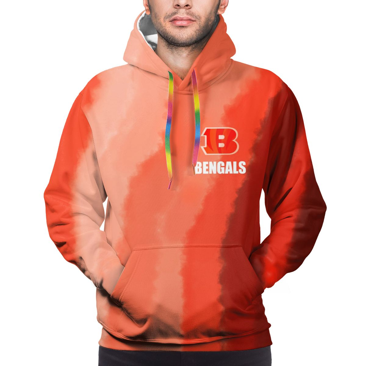 BENGALS Logo Print Hoodies For Men Pullover Sweatshirt