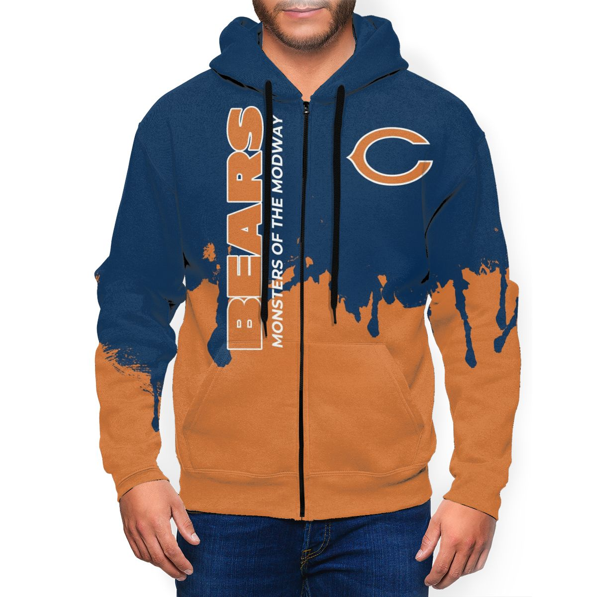 Bears Team Men's Zip Hooded Sweatshirt