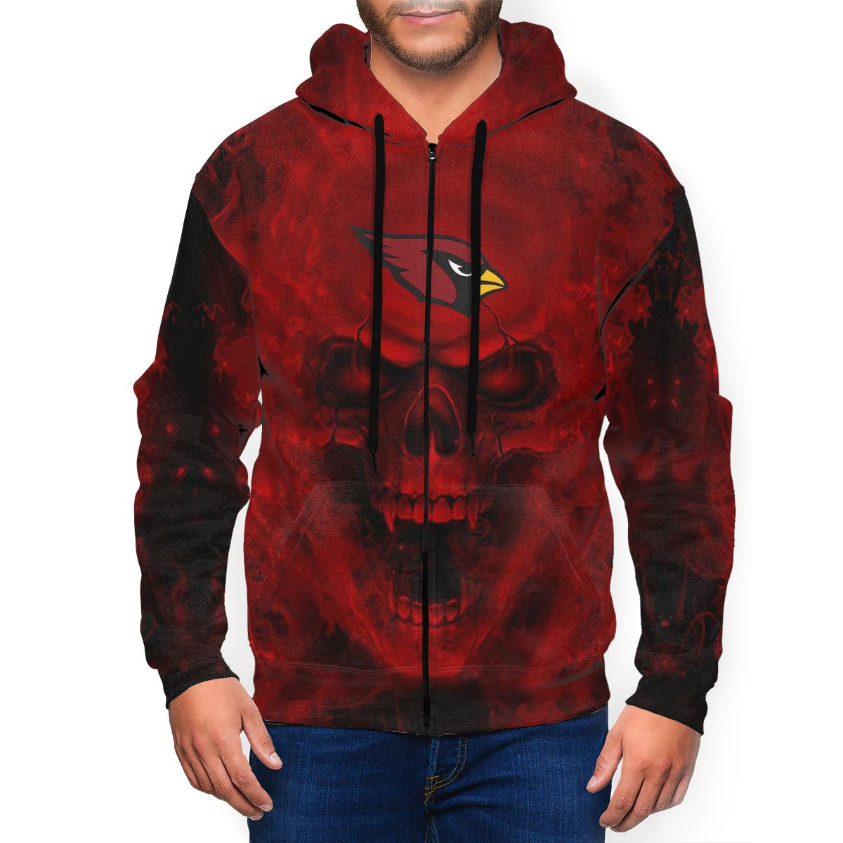 3D Skull Cardinals Men's Zip Hooded Sweatshirt