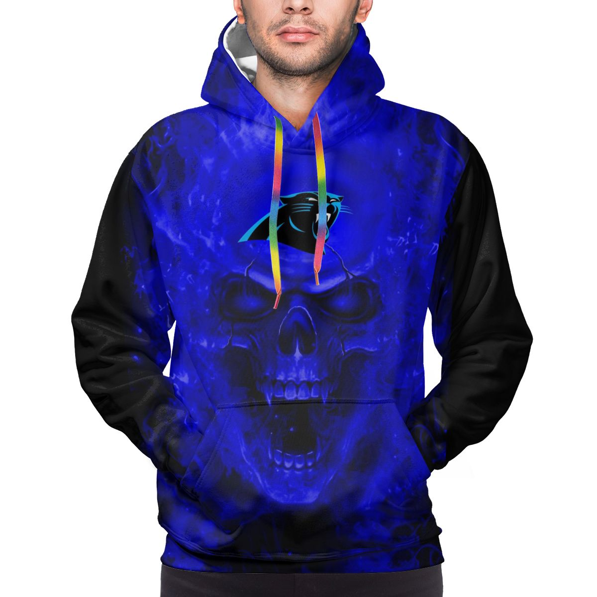 3D Skull Panthers Logo Print Hoodies For Men Pullover Sweatshirt