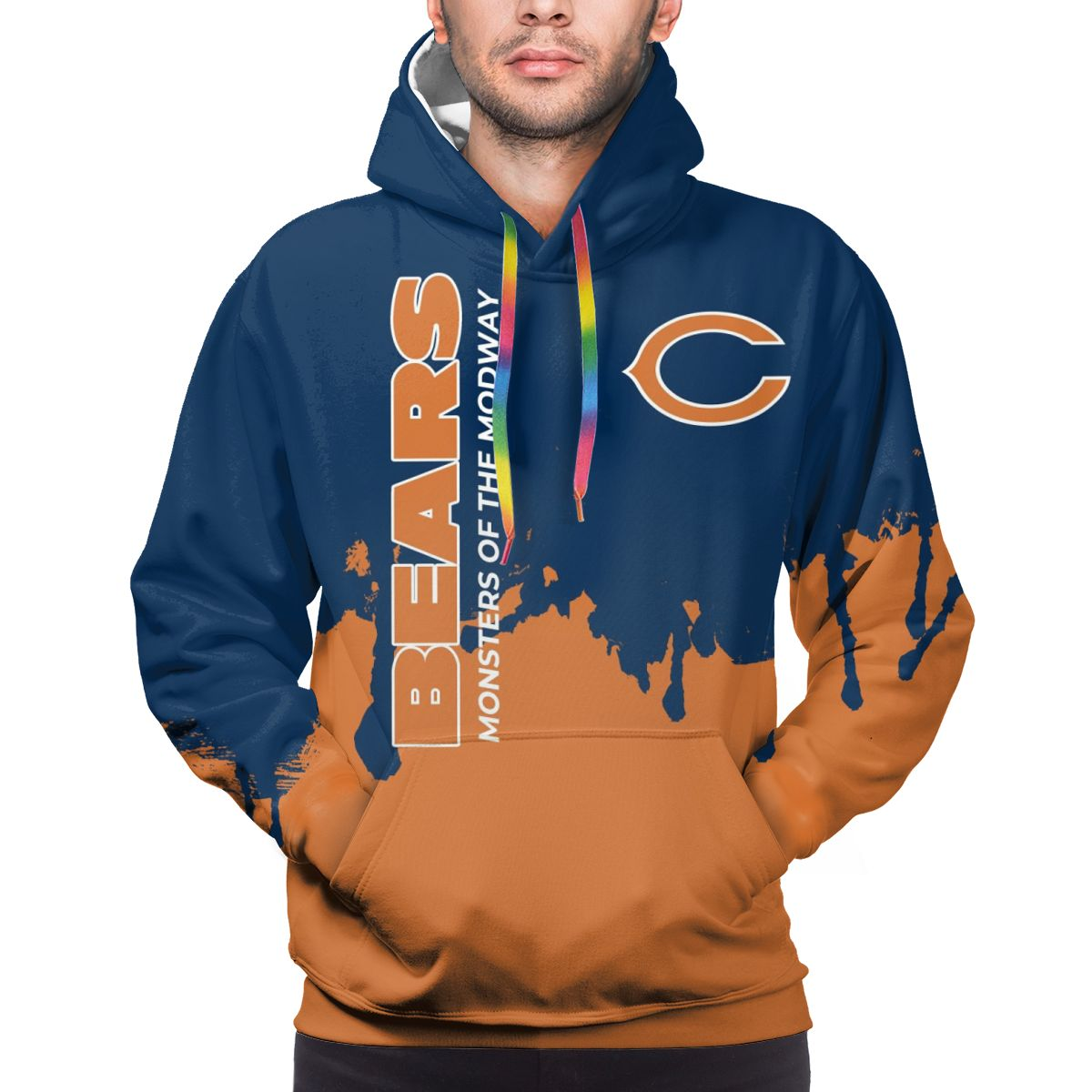 Bears Team Logo Print Hoodies For Men Pullover Sweatshirt