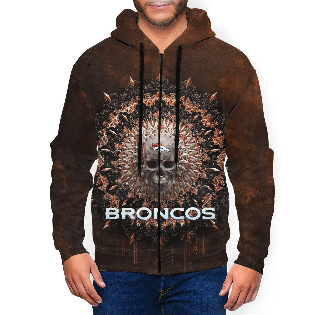 Broncos Men's Zip Hooded Sweatshirt