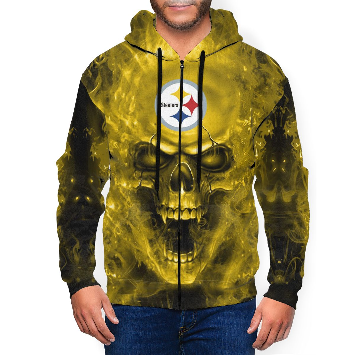 3D SKull Steelers Men's Zip Hooded Sweatshirt