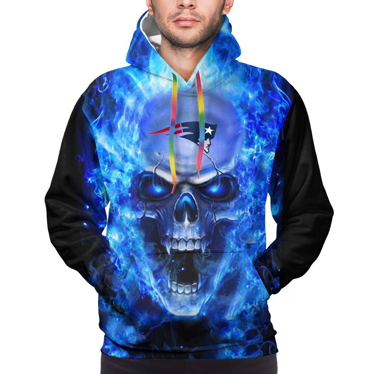 3D Skull Patriots Logo Print Hoodies For Men Pullover Sweatshirt