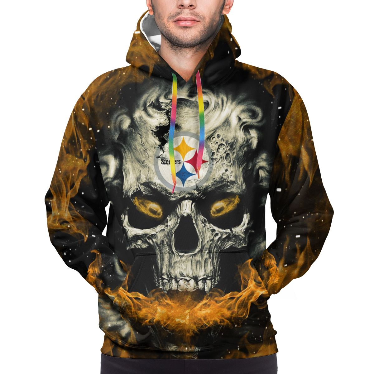 3D Skull Steelers Logo Print Hoodies For Men Pullover Sweatshirt