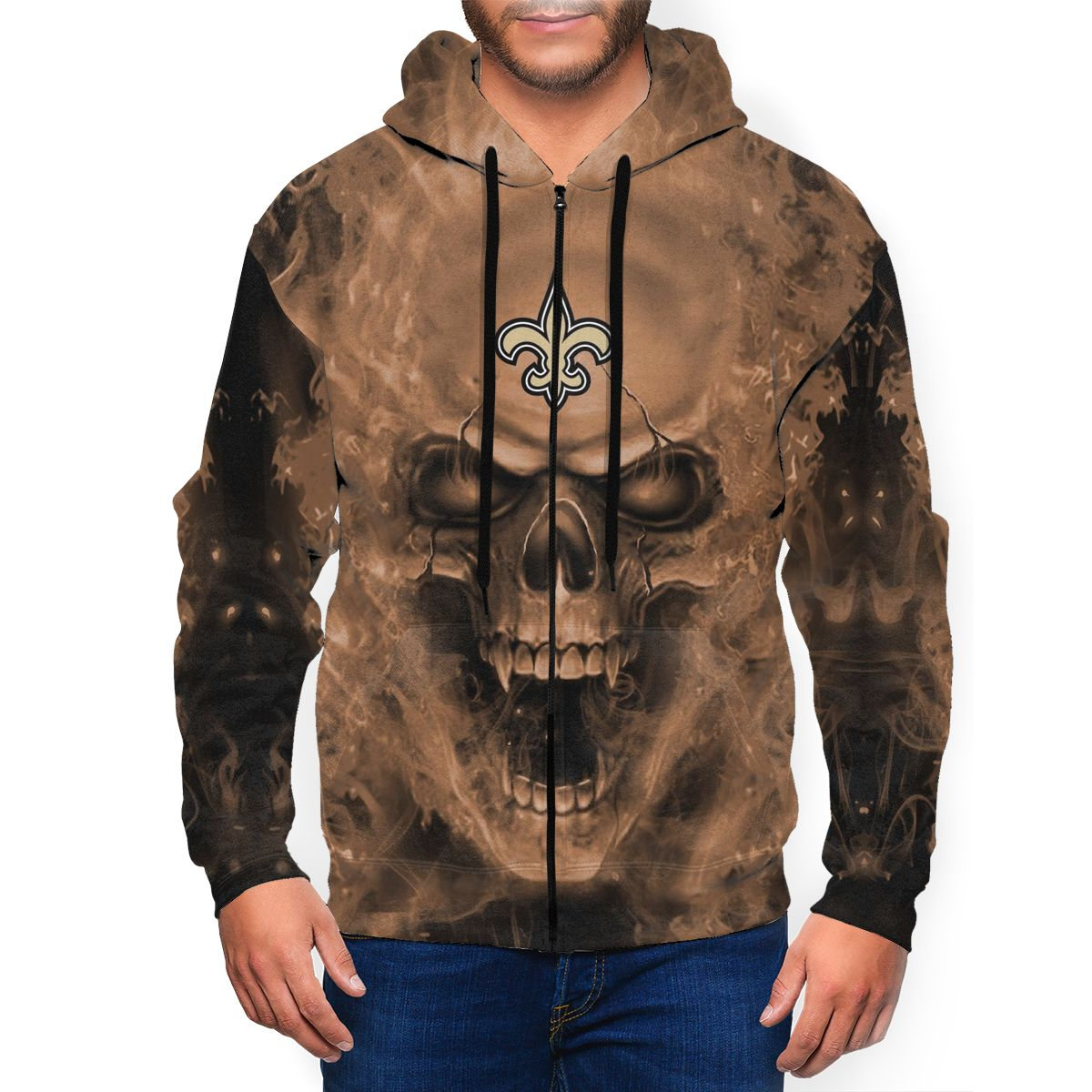3D Skull Saints Men's Zip Hooded Sweatshirt
