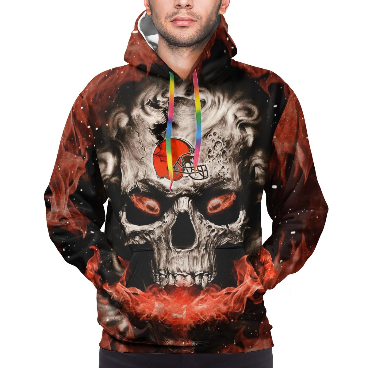 3D Skull Browns Logo Print Hoodies For Men Pullover Sweatshirt