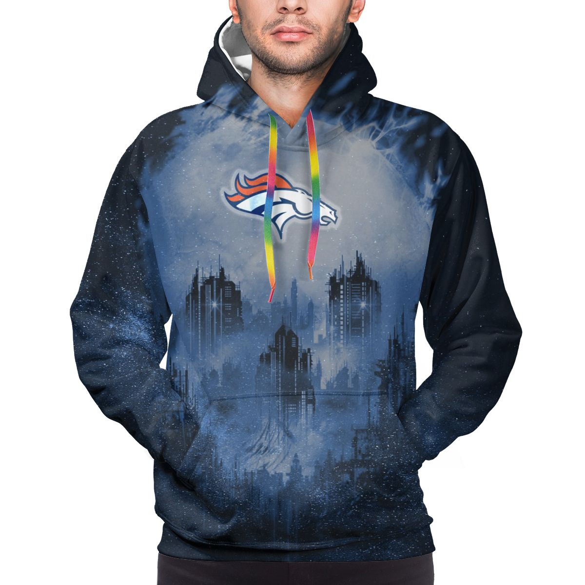 Armageddon Broncos Logo Print Hoodies For Men Pullover Sweatshirt