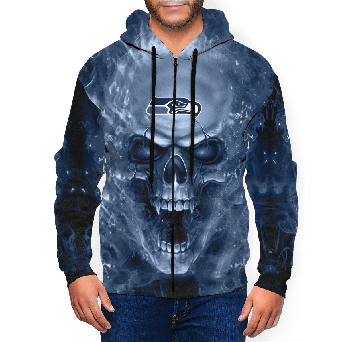 3D Skull Seahawks Men's Zip Hooded Sweatshirt