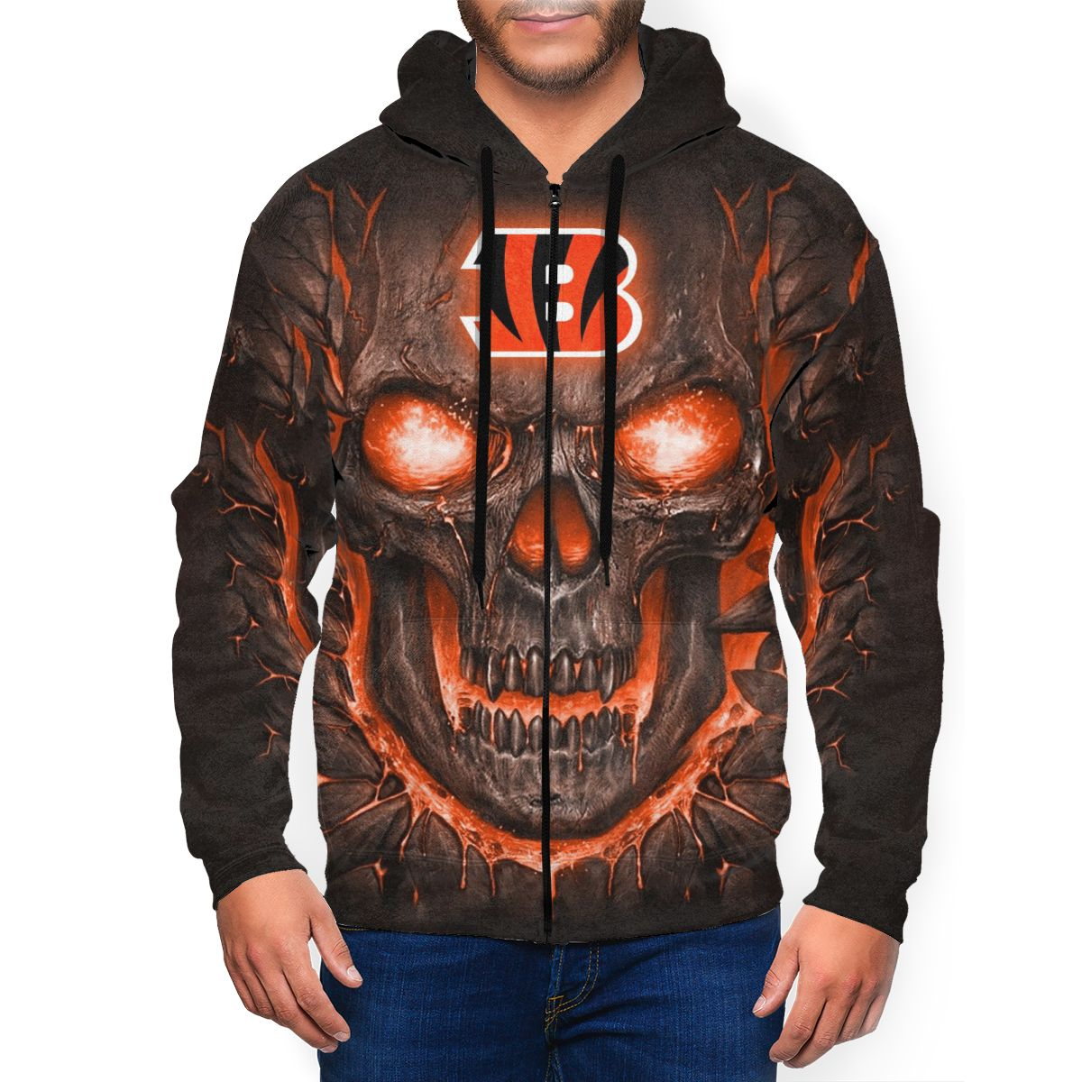 Bengals Skull Lava Men's Zip Hooded Sweatshirt