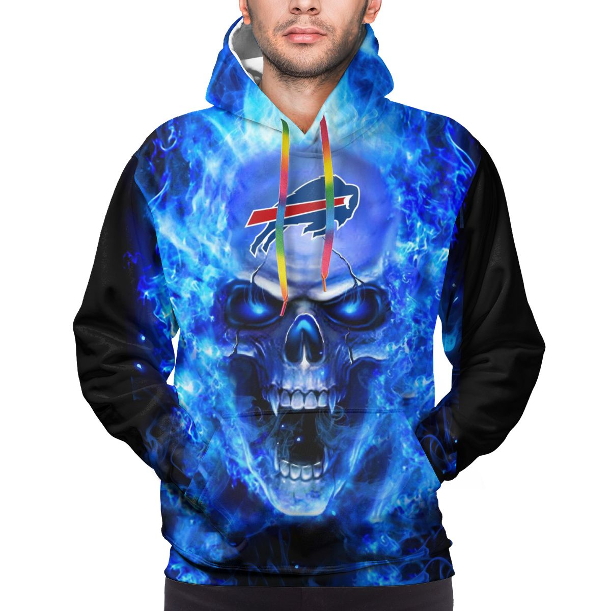 3D Skull Bills Logo Print Hoodies For Men Pullover Sweatshirt