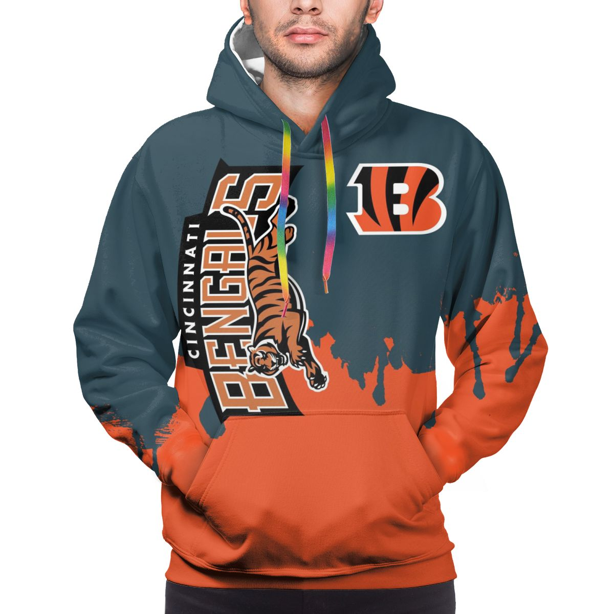 Bengals Team Logo Print Hoodies For Men Pullover Sweatshirt