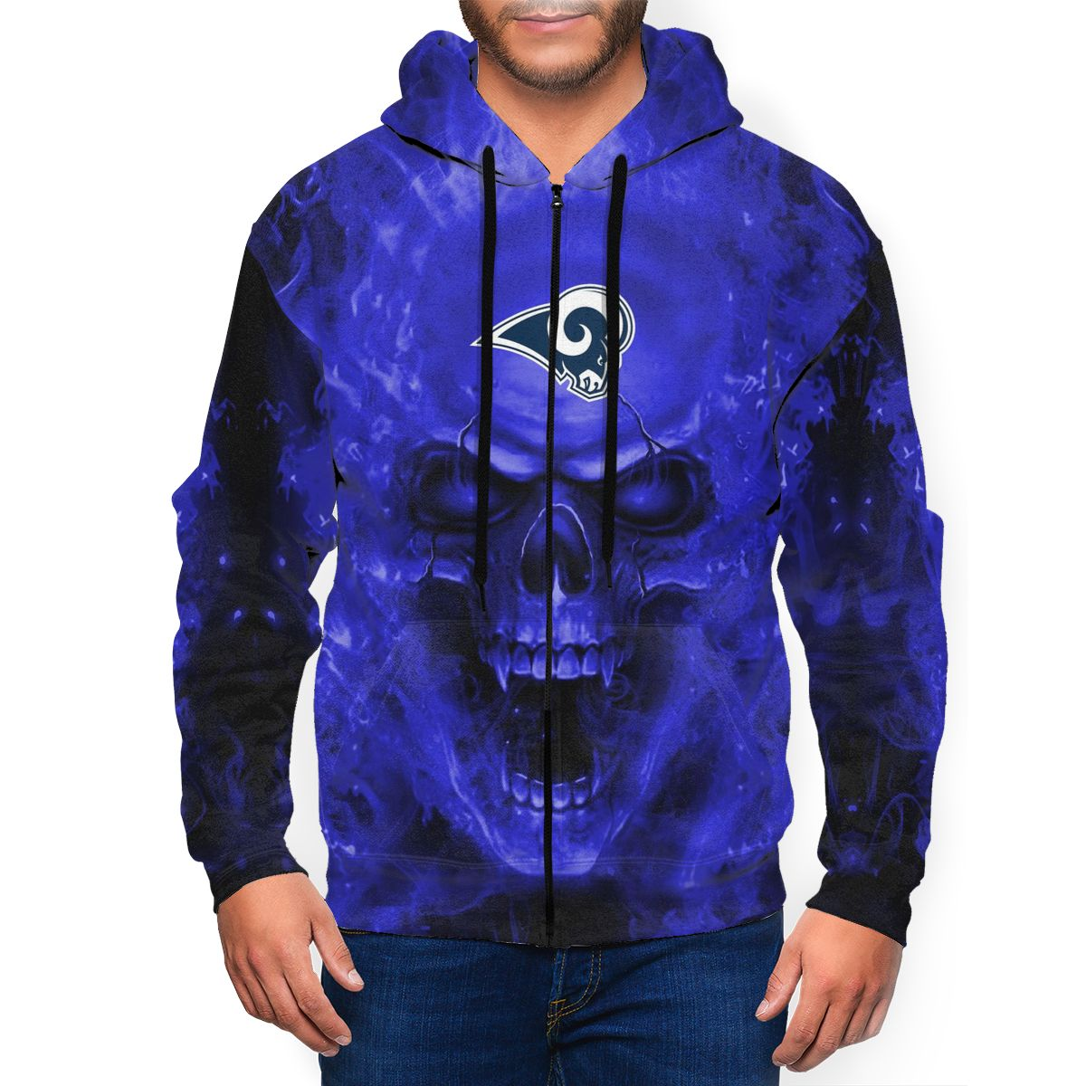 3D Skull Rams Men's Zip Hooded Sweatshirt