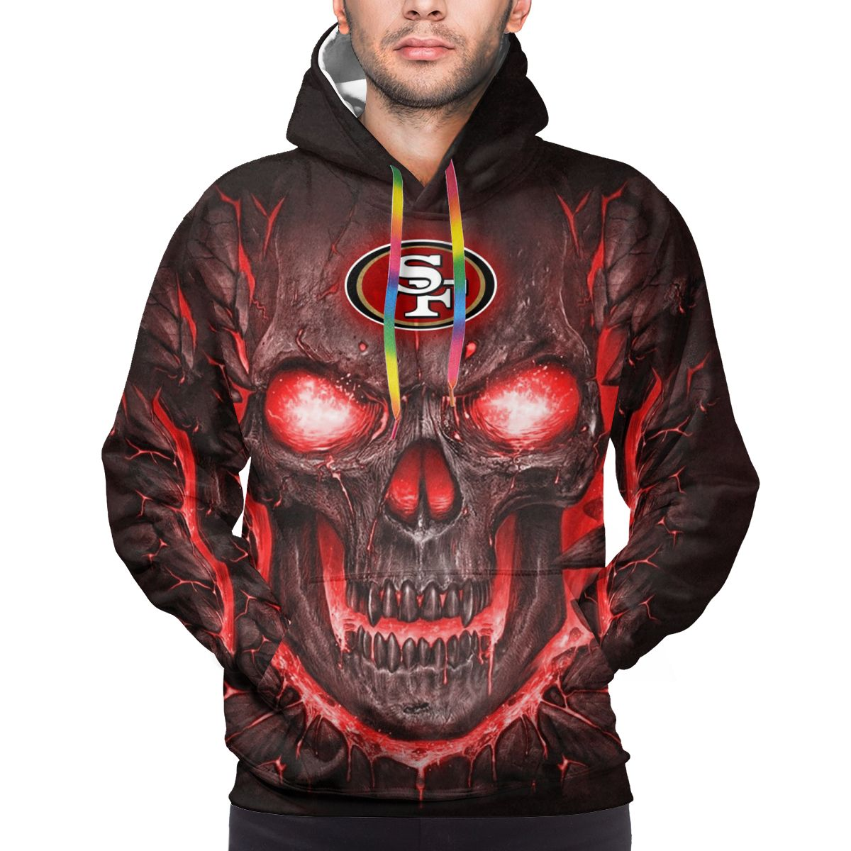 49ers Skull Lava Logo Print Hoodies For Men Pullover Sweatshirt