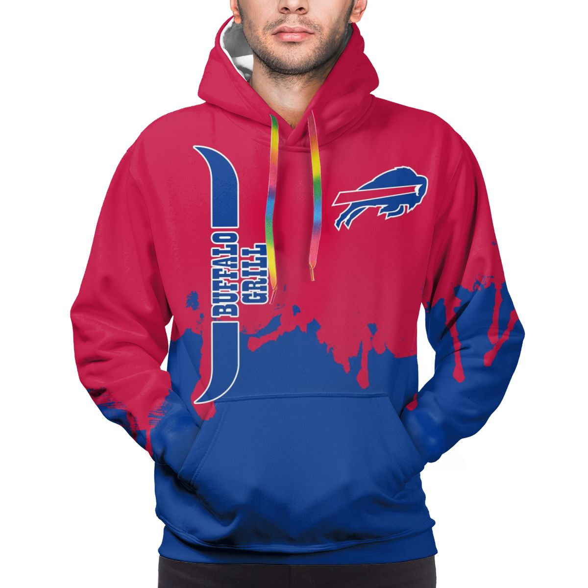 Bills Team Logo Print Hoodies For Men Pullover Sweatshirt