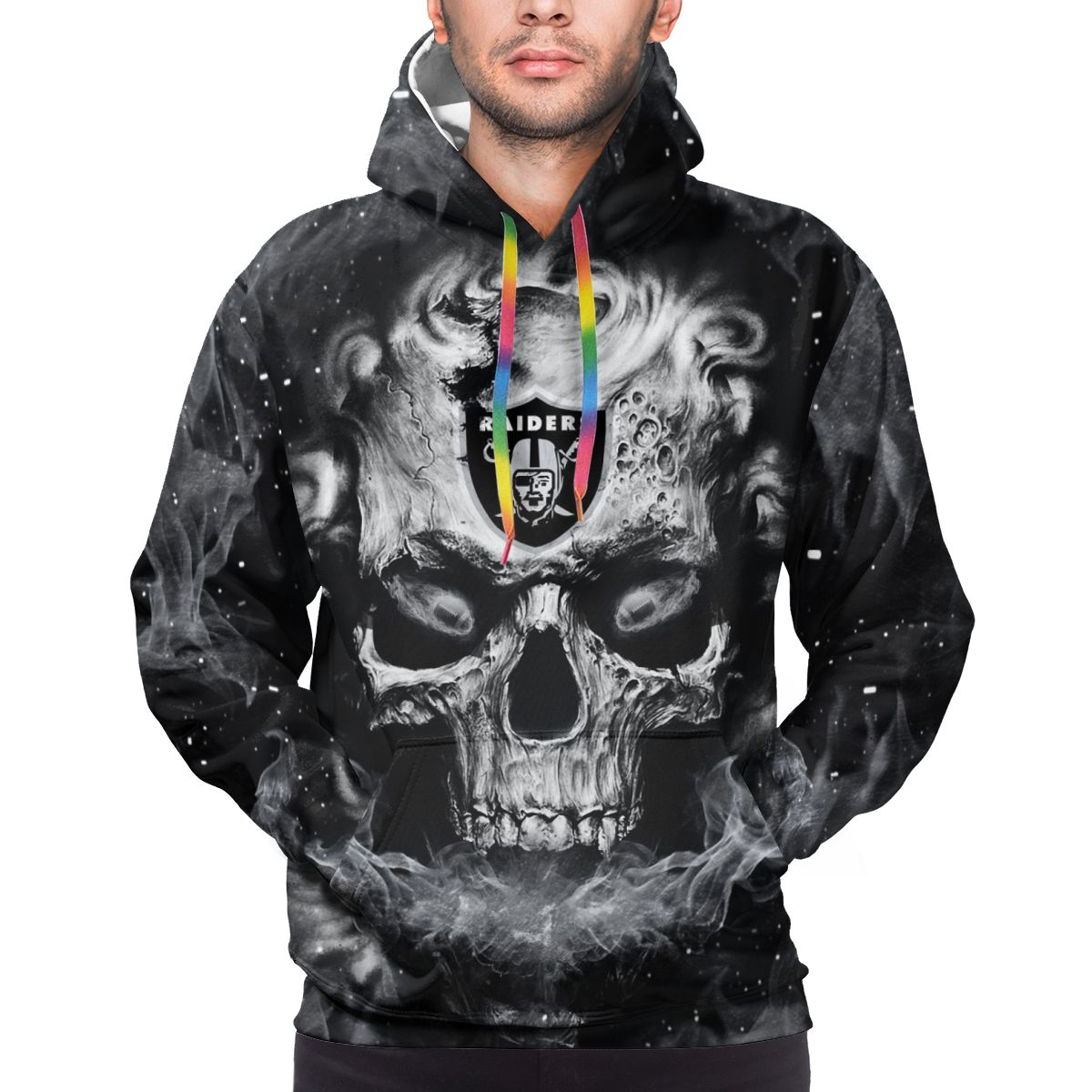 3D Skull Raiders Logo Print Hoodies For Men Pullover Sweatshirt