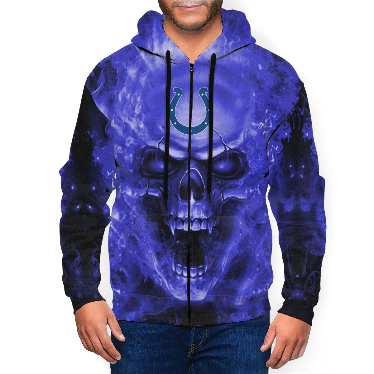 3D Skull Colts Men's Zip Hooded Sweatshirt