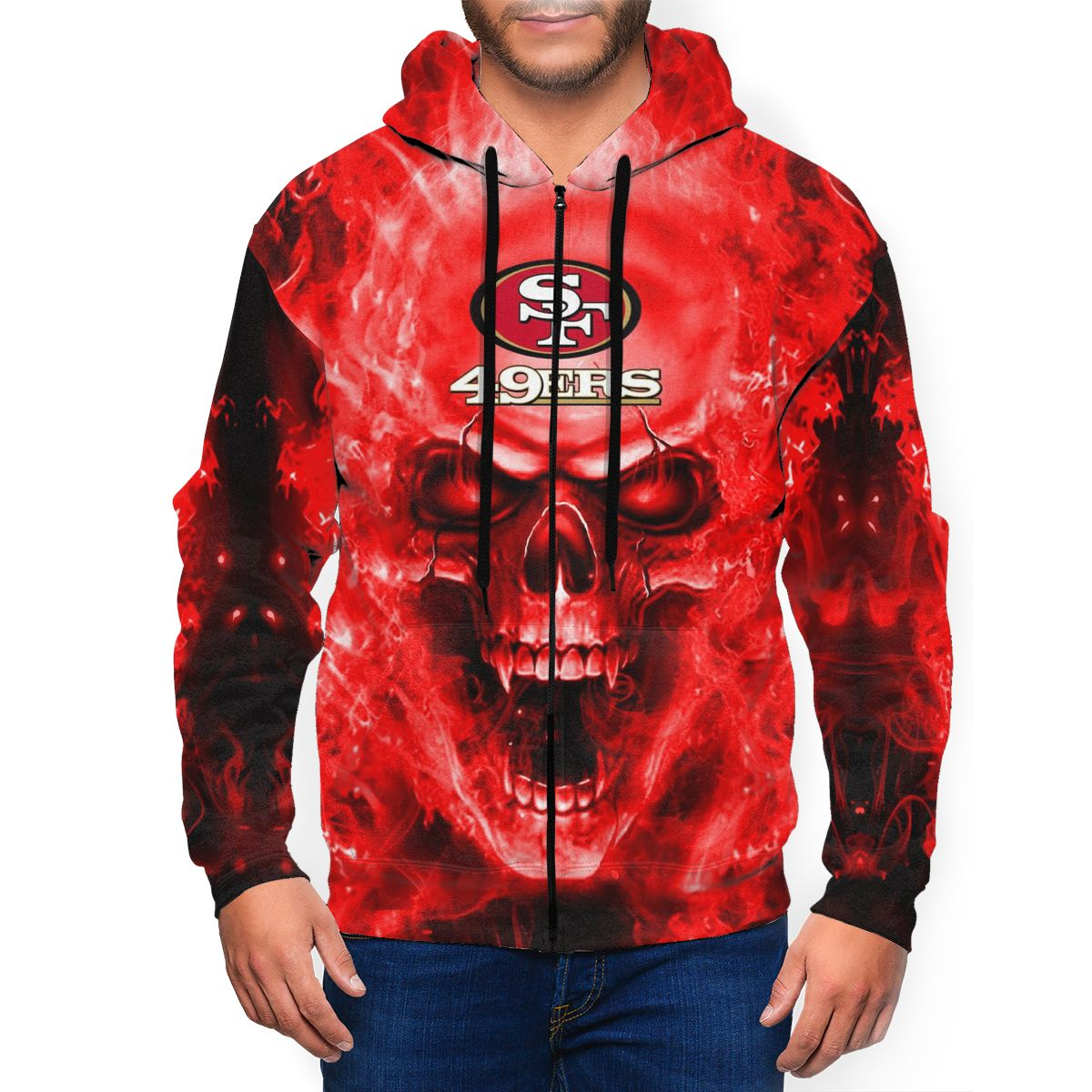 3D Skull 49ers Men's Zip Hooded Sweatshirt