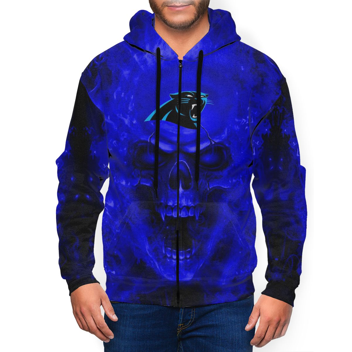 3D Skull Panthers Men's Zip Hooded Sweatshirt