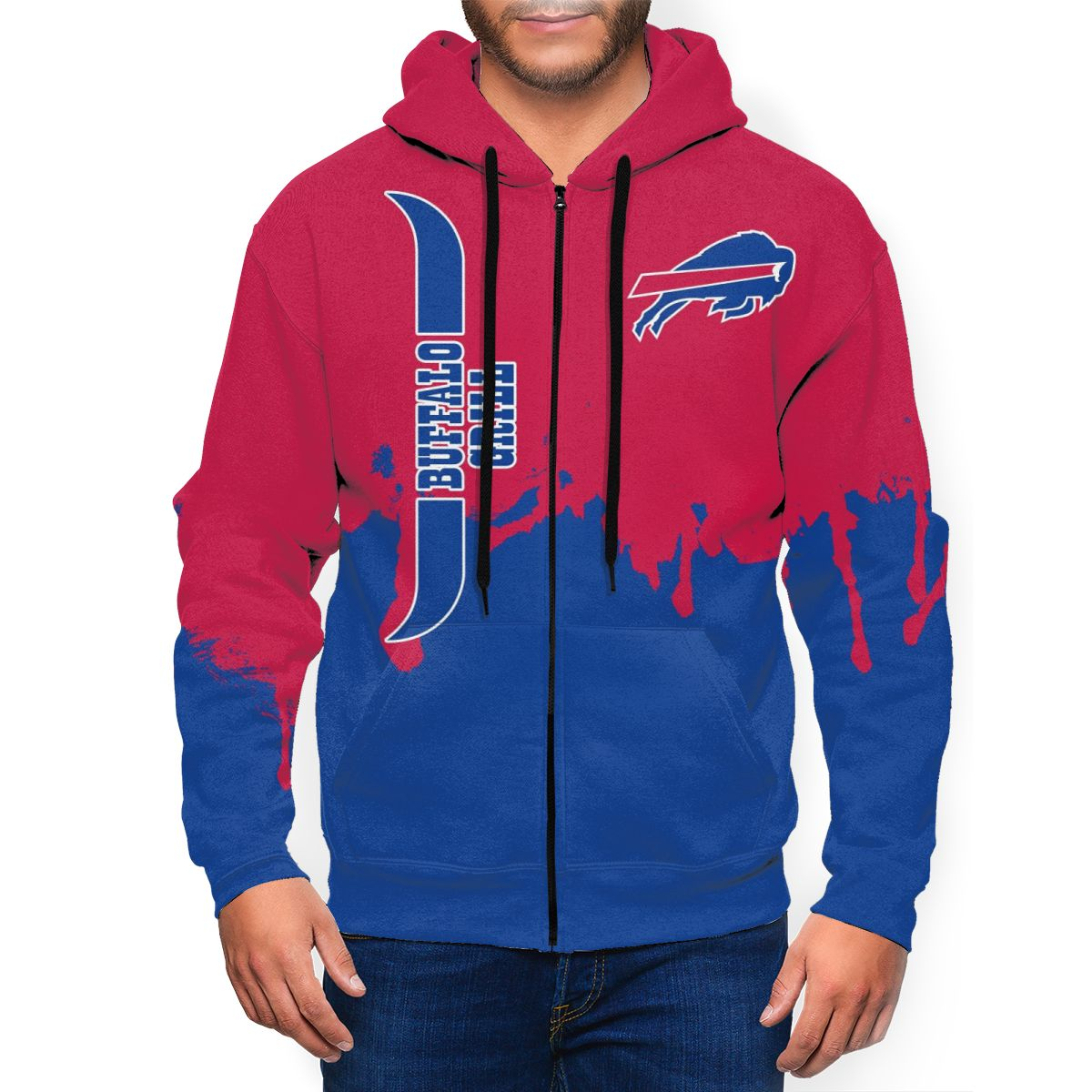 Bills Team Men's Zip Hooded Sweatshirt
