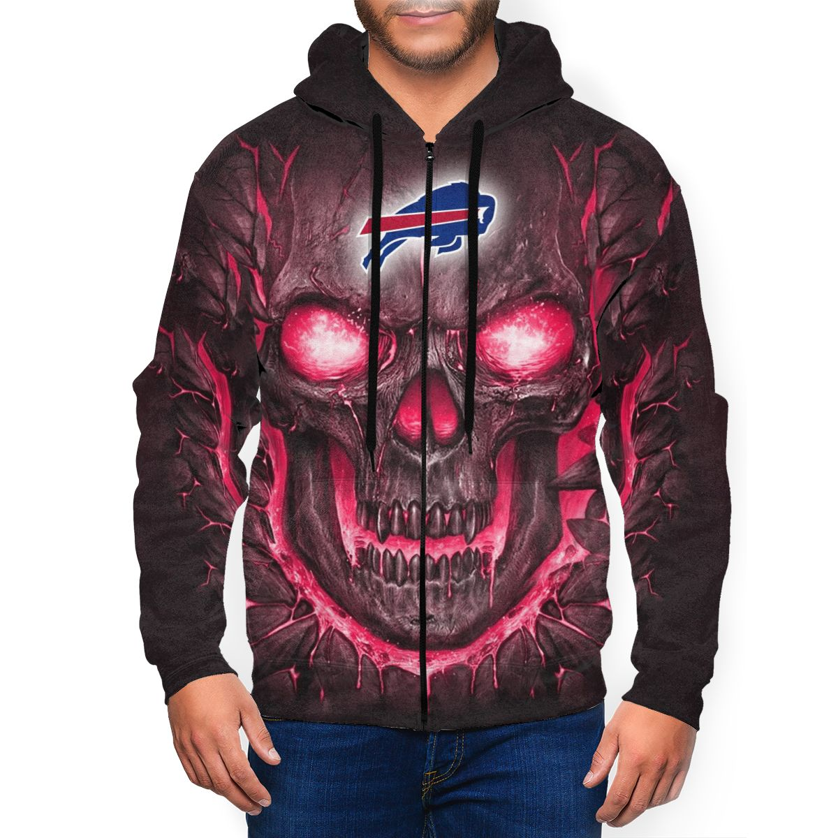 Bills Skull Lava Men's Zip Hooded Sweatshirt