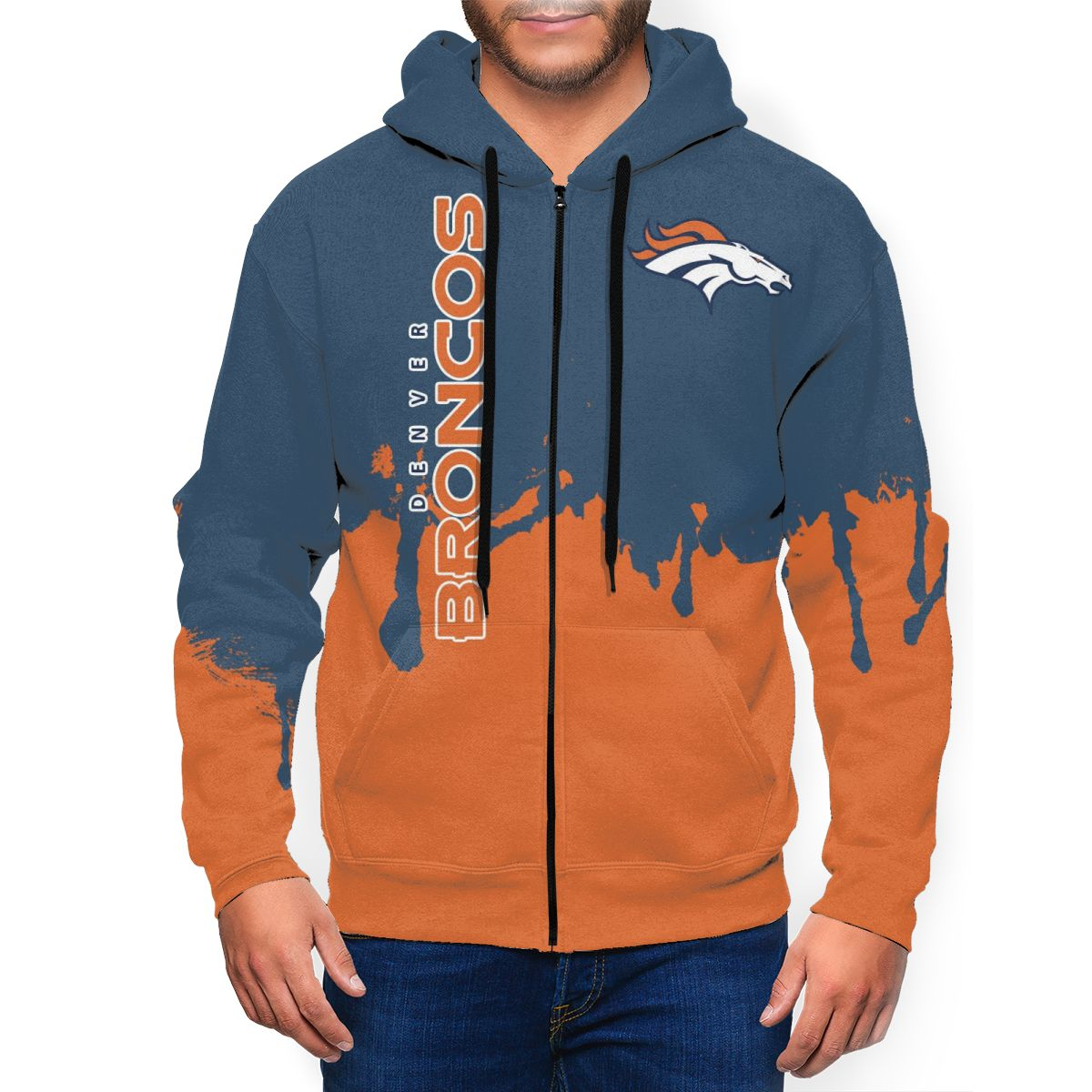 Broncos Team Men's Zip Hooded Sweatshirt
