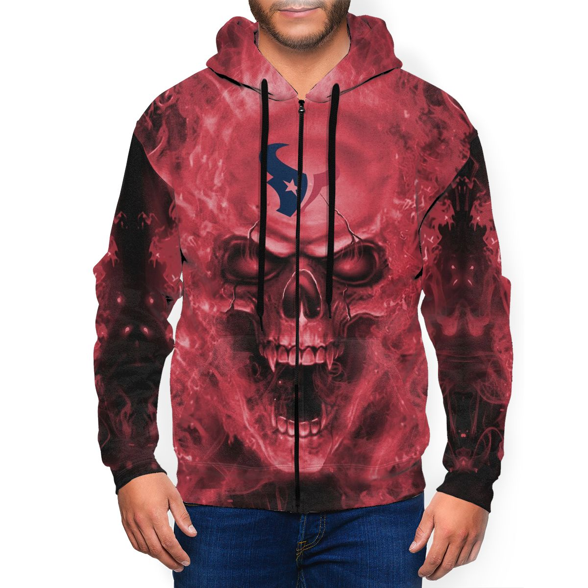 3D Skull Texans Men's Zip Hooded Sweatshirt