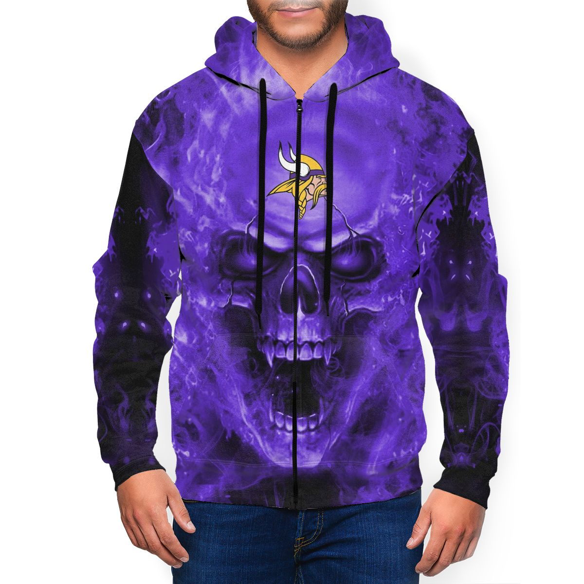 3D Skull Vikings Men's Zip Hooded Sweatshirt