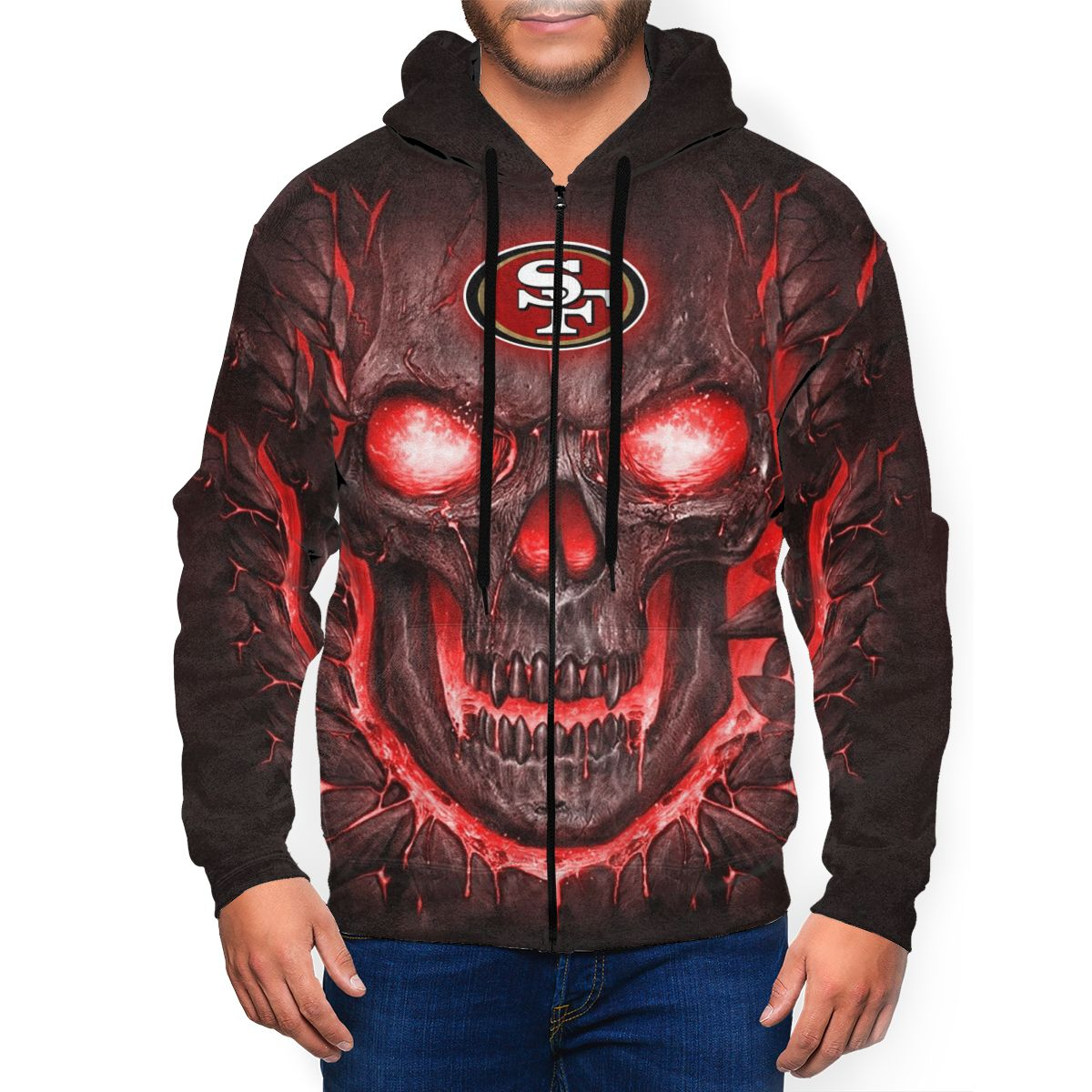 49ers Skull Lava Men's Zip Hooded Sweatshirt