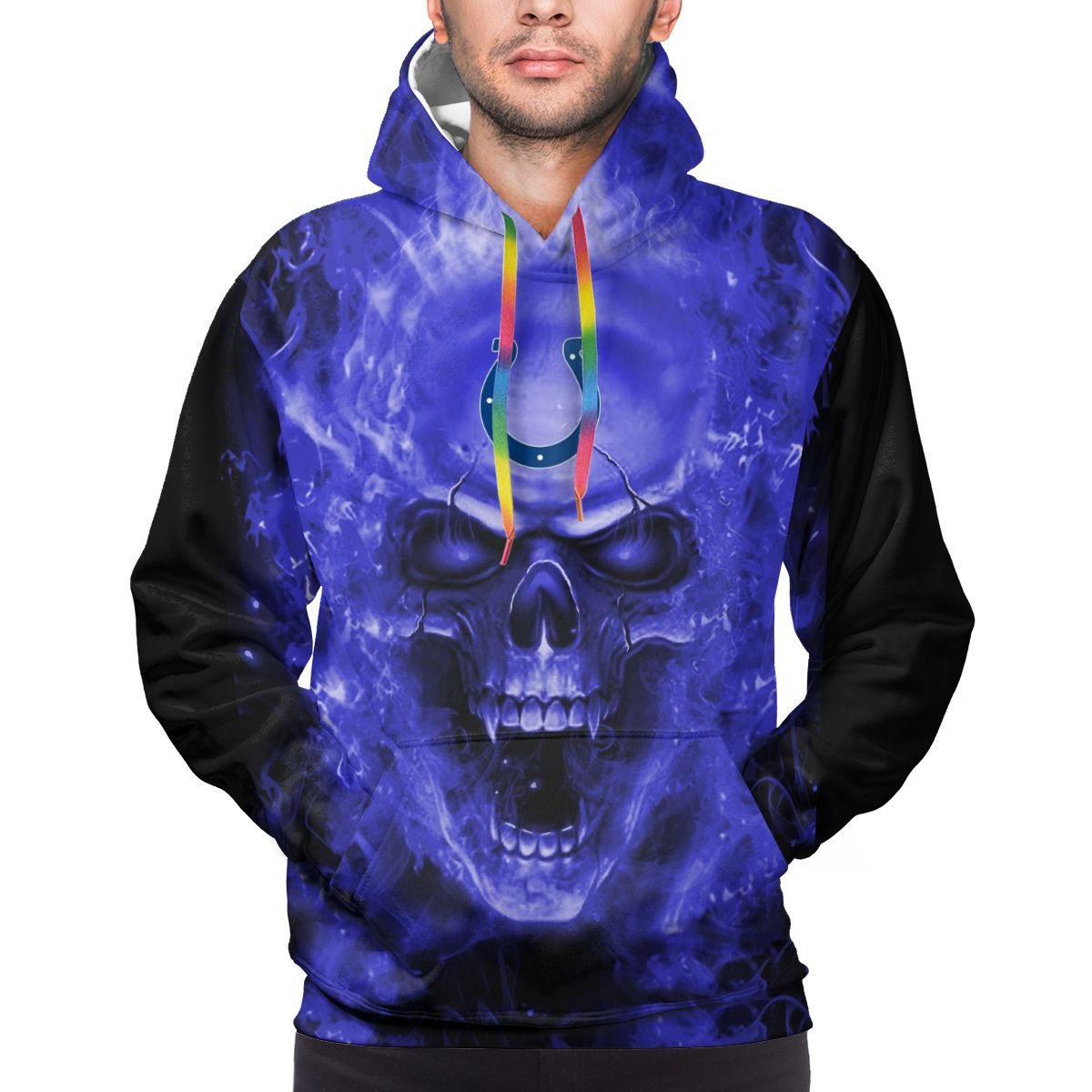 3D Skull Colts Logo Print Hoodies For Men Pullover Sweatshirt