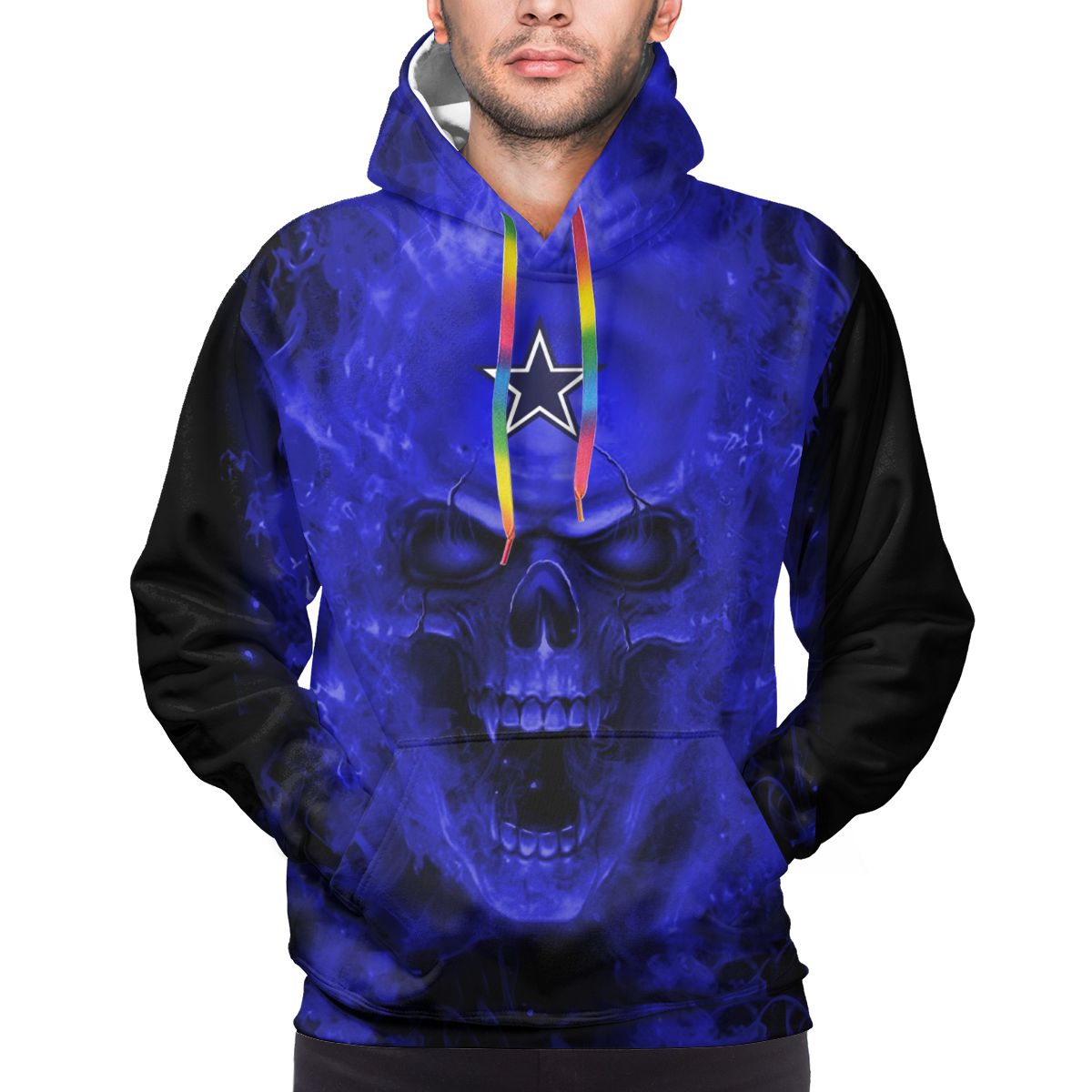 3D Skull Cowboys Logo Print Hoodies For Men Pullover Sweatshirt