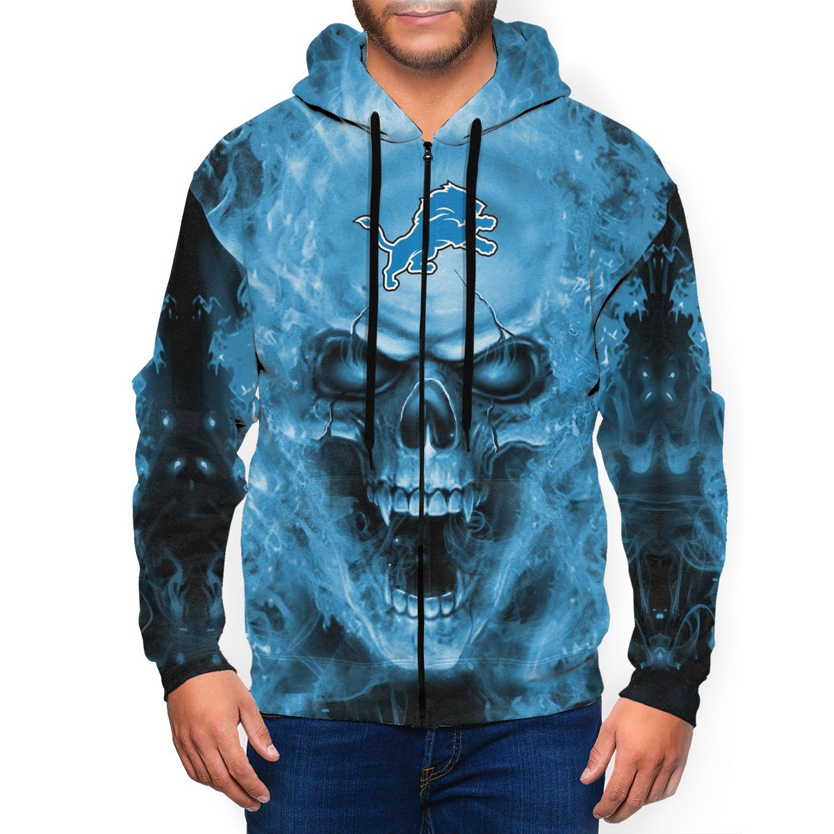 3D Skull Lions Men's Zip Hooded Sweatshirt