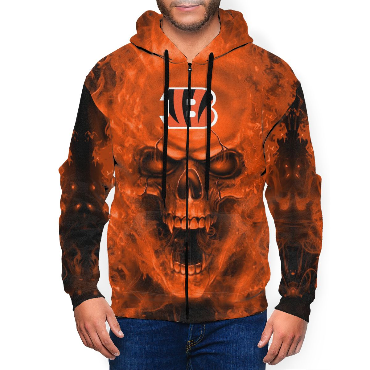 3D Skull Bengals Men's Zip Hooded Sweatshirt