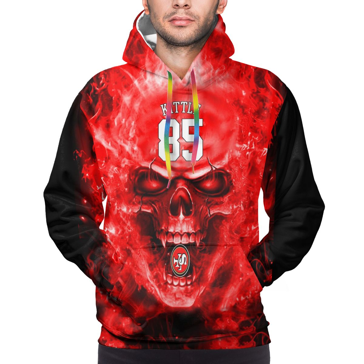 3D Skull 49ers #85 George Kittle Logo Print Hoodies For Men Pullover Sweatshirt