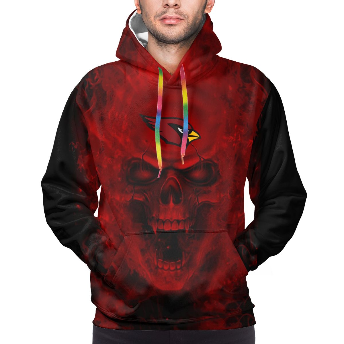 3D Skull Cardinals Logo Print Hoodies For Men Pullover Sweatshirt