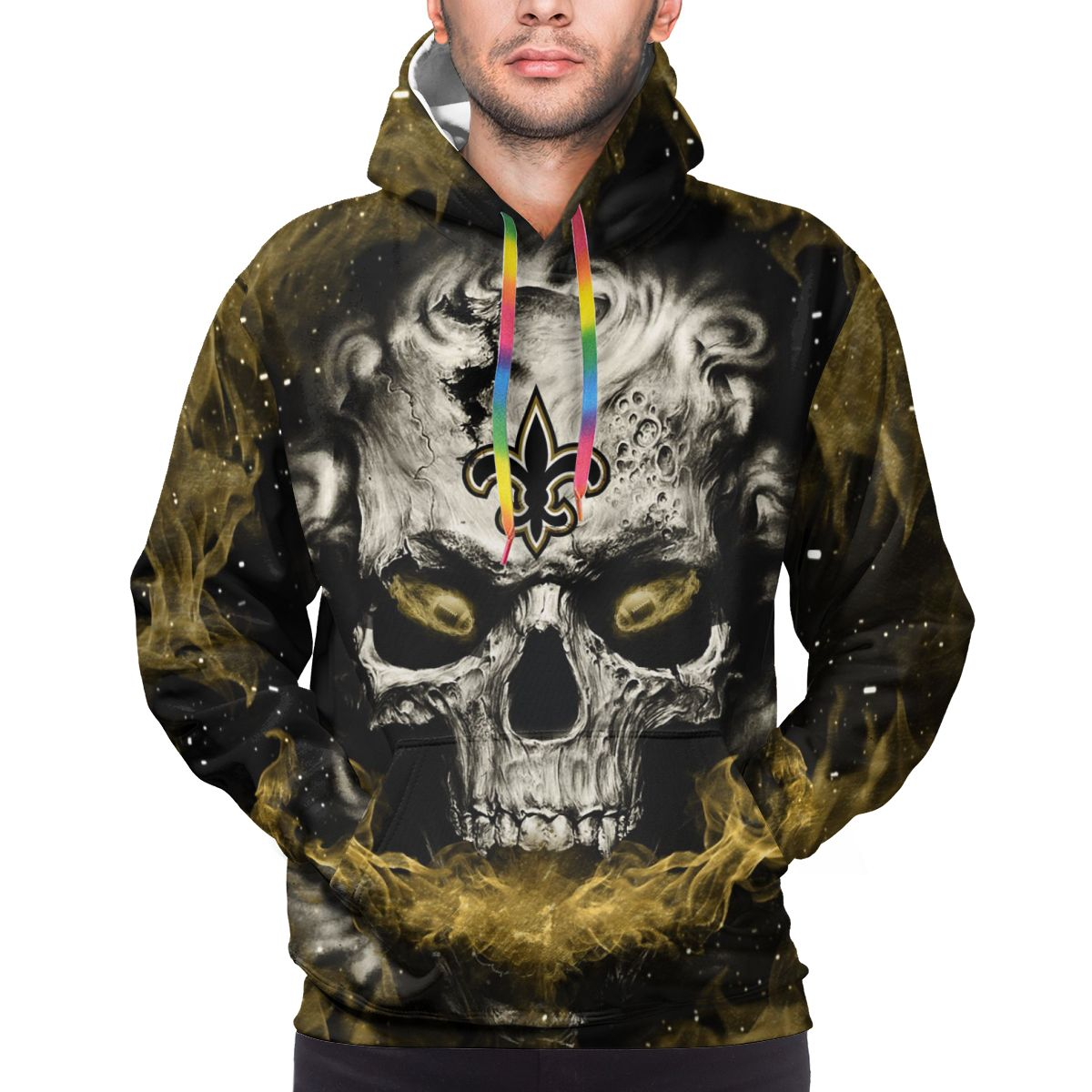 3D Skull Saints Logo Print Hoodies For Men Pullover Sweatshirt