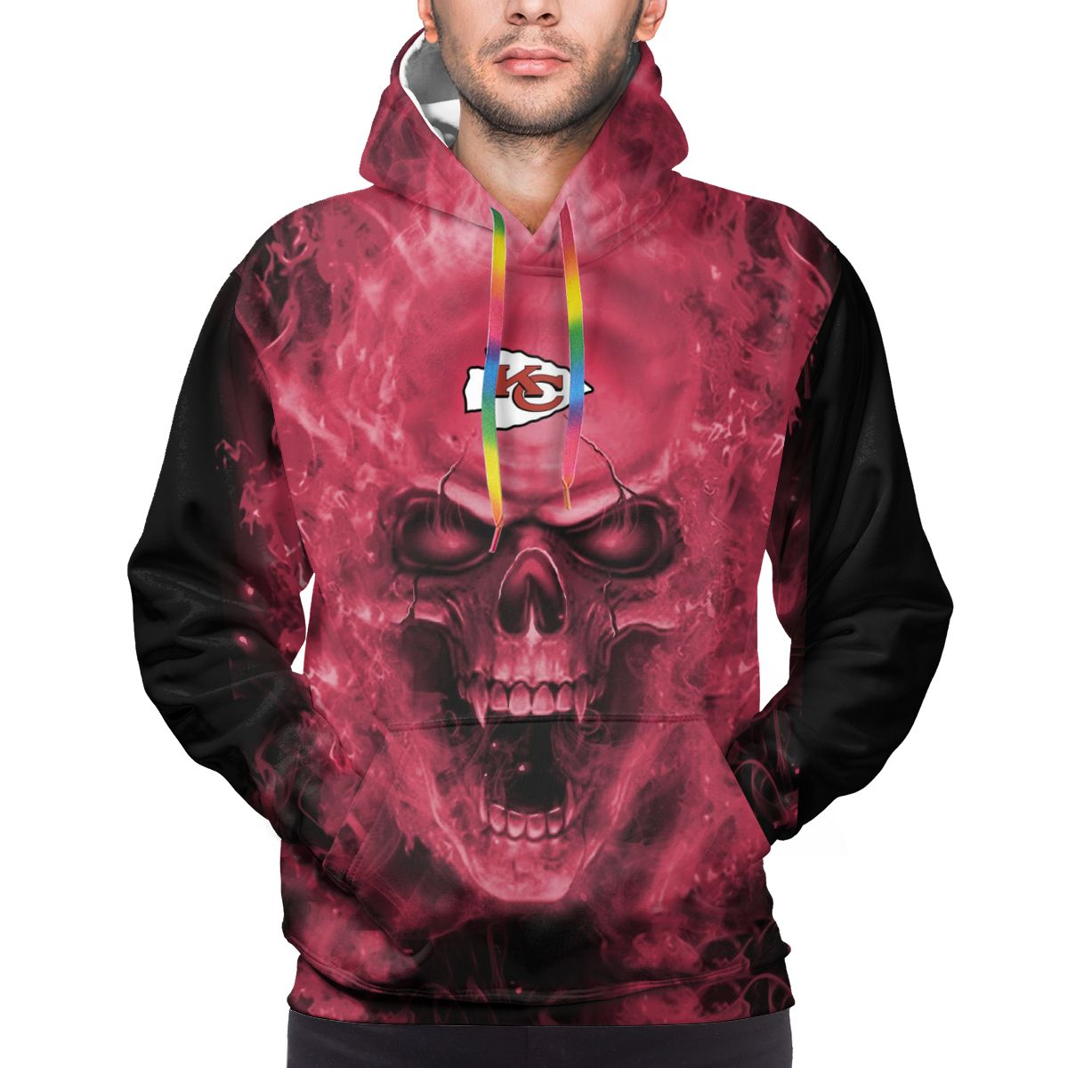 3D Skull Chiefs Logo Print Hoodies For Men Pullover Sweatshirt