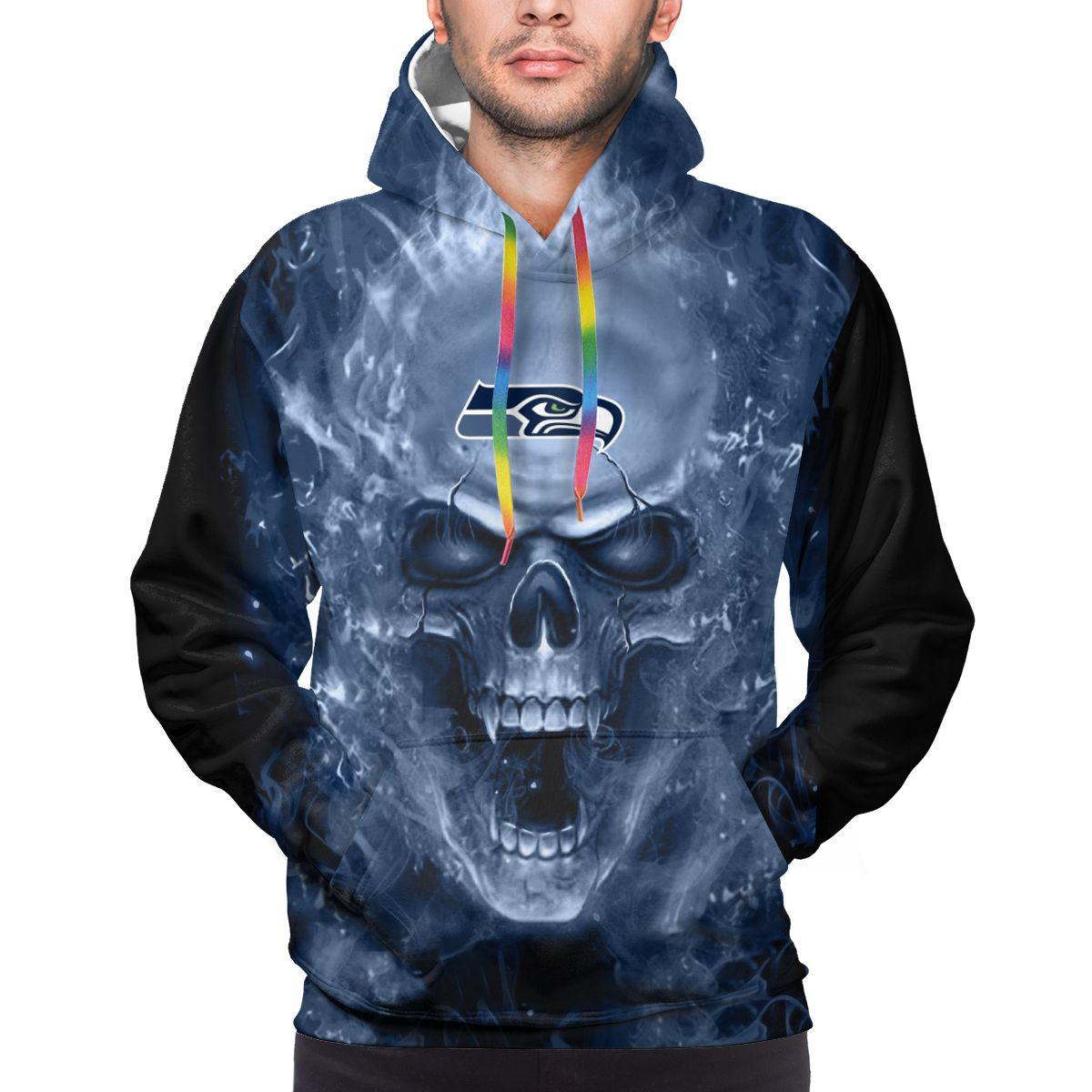 3D Skull Seahawks Logo Print Hoodies For Men Pullover Sweatshirt