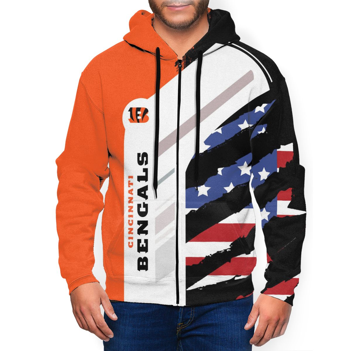 Bengals Men's Zip Hooded Sweatshirt