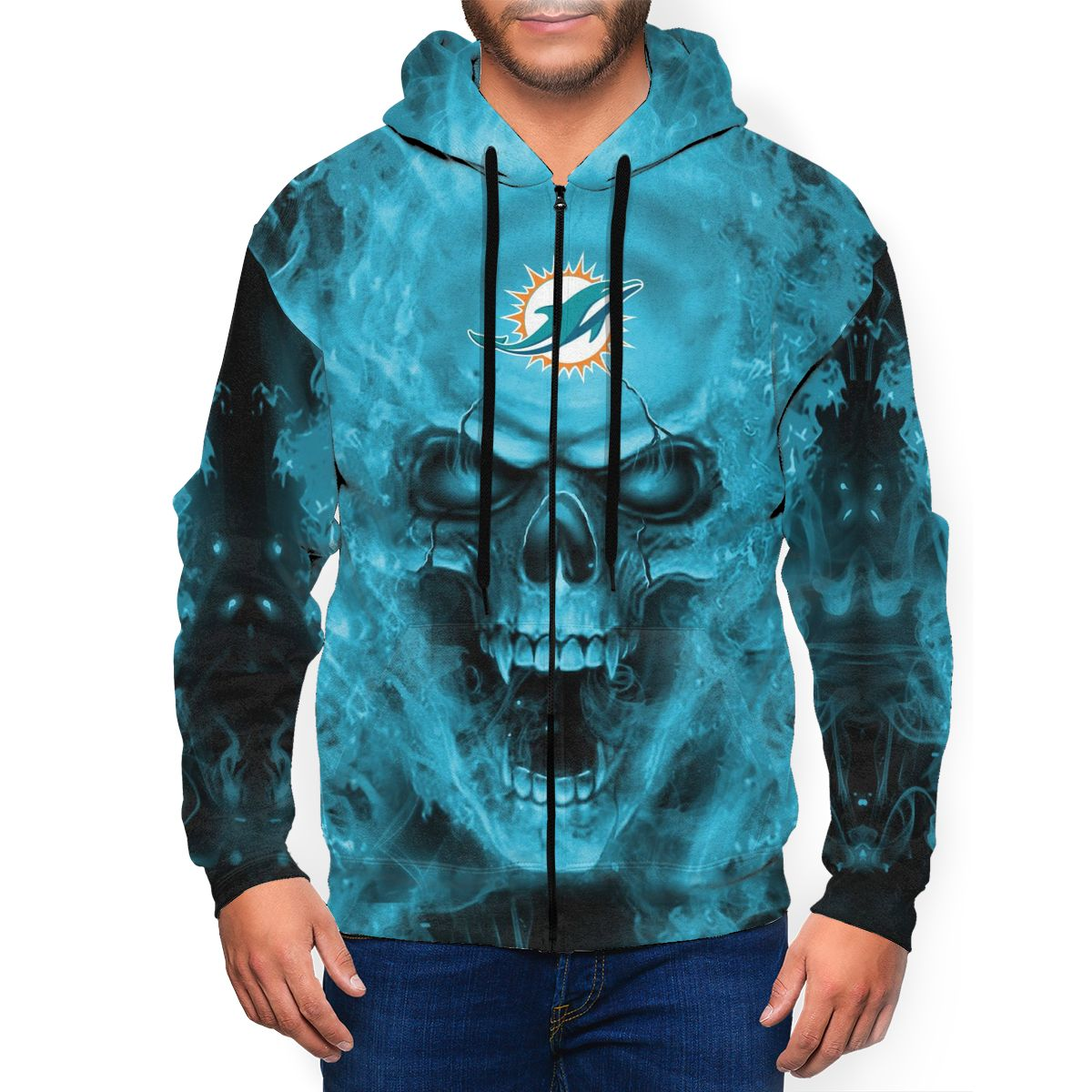 3D Skull Dolphins Men's Zip Hooded Sweatshirt