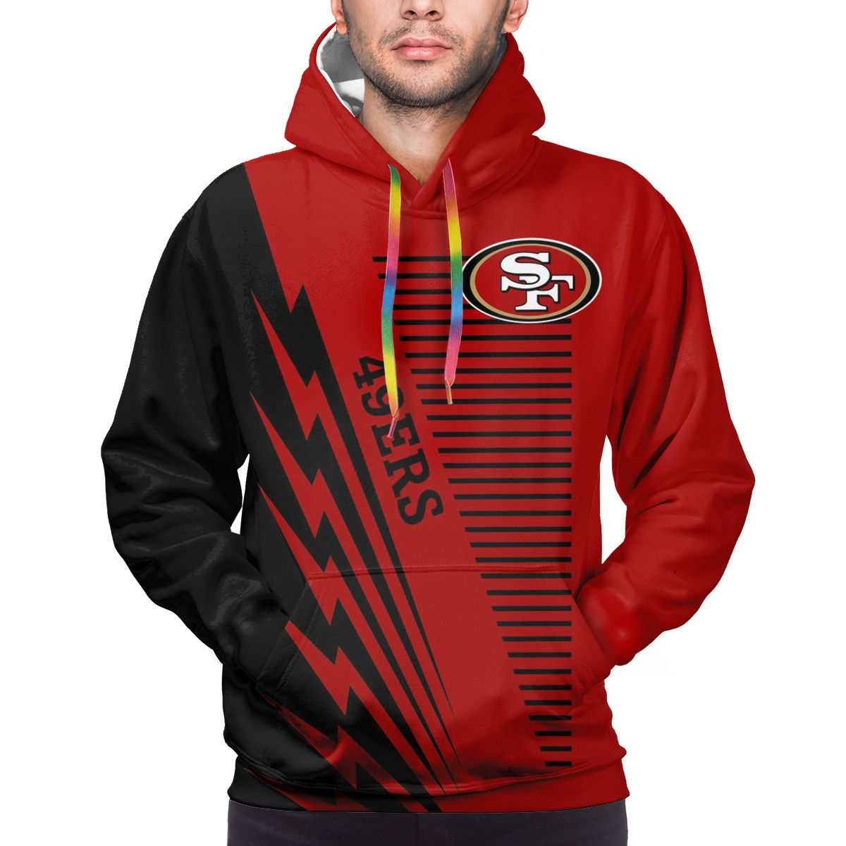 49ers Logo Print Hoodies For Men Pullover Sweatshirt