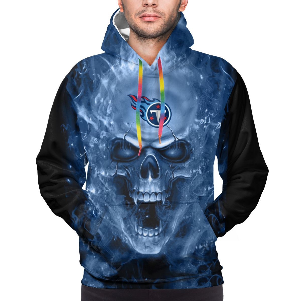 3D Skull Titans Logo Print Hoodies For Men Pullover Sweatshirt