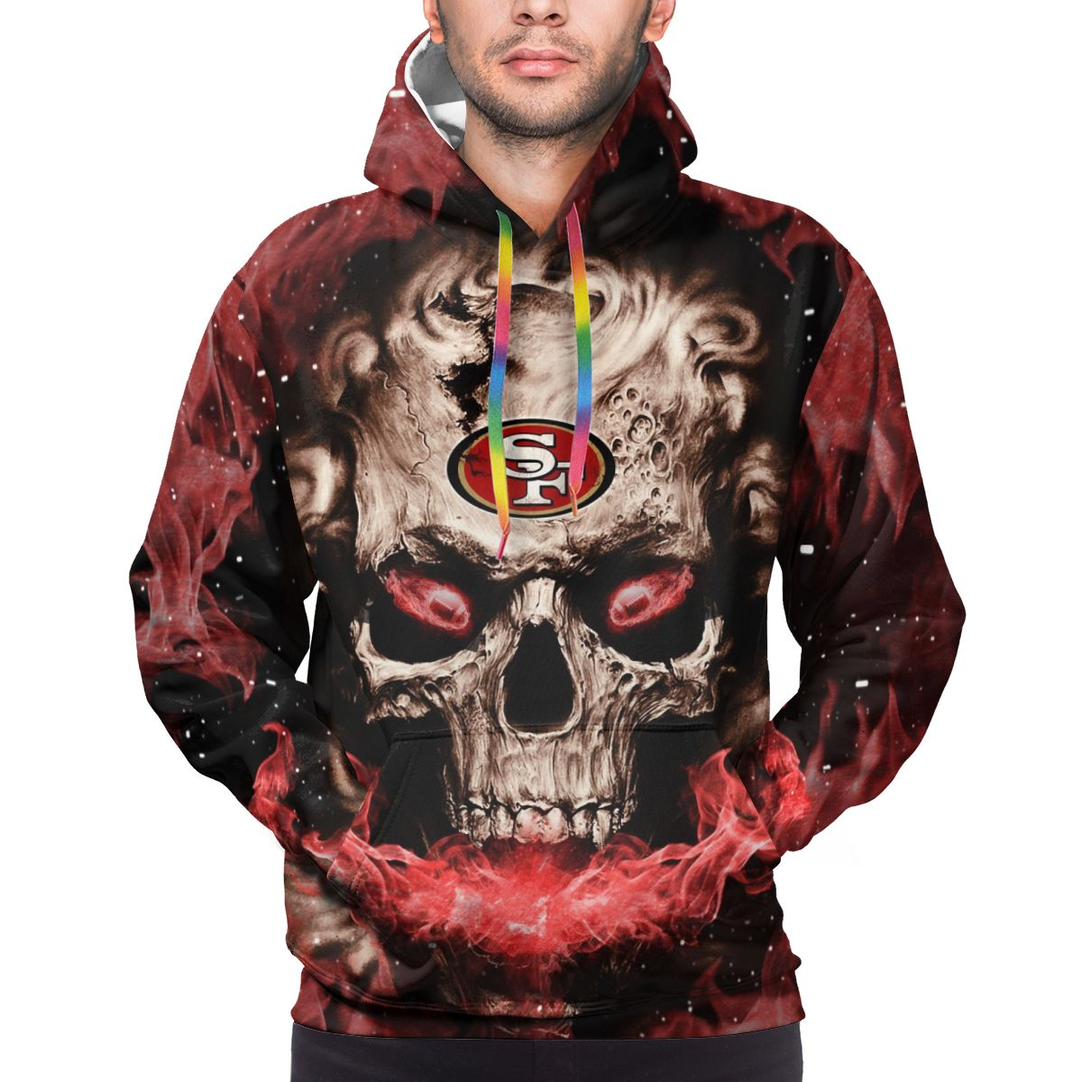 3D Skull 49ers Logo Print Hoodies For Men Pullover Sweatshirt